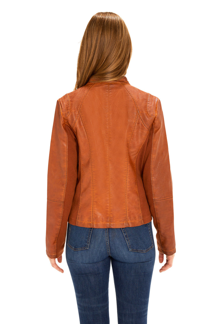 Women's Faux Leather scuba jacket adobe back