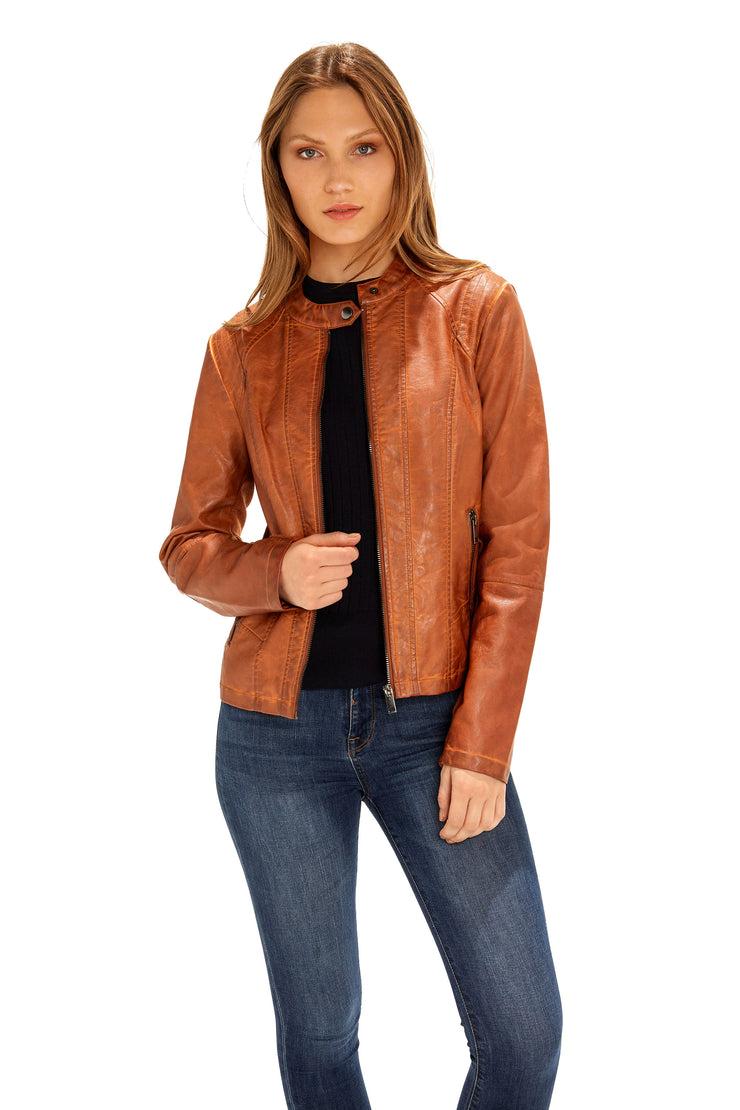 Women's Faux Leather scuba jacket adobe detail
