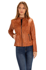 Women's Faux Leather scuba jacket adobe front