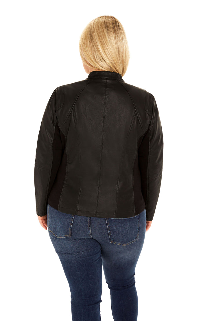 Faux Leather plus size scuba jacket black back