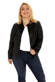 Faux Leather plus size scuba jacket black detail