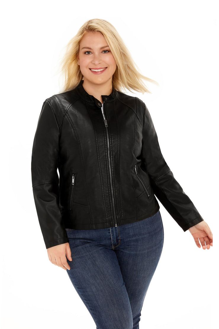 Faux Leather plus size scuba jacket black front
