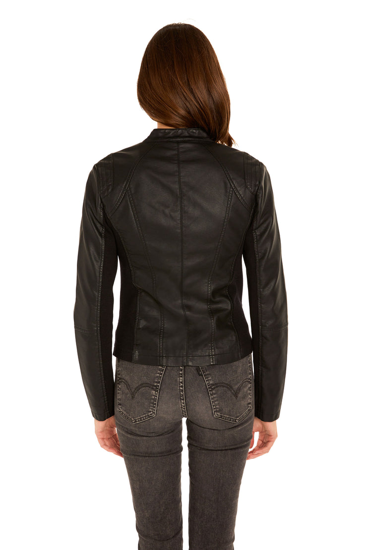 Women's Faux Leather scuba jacket black back