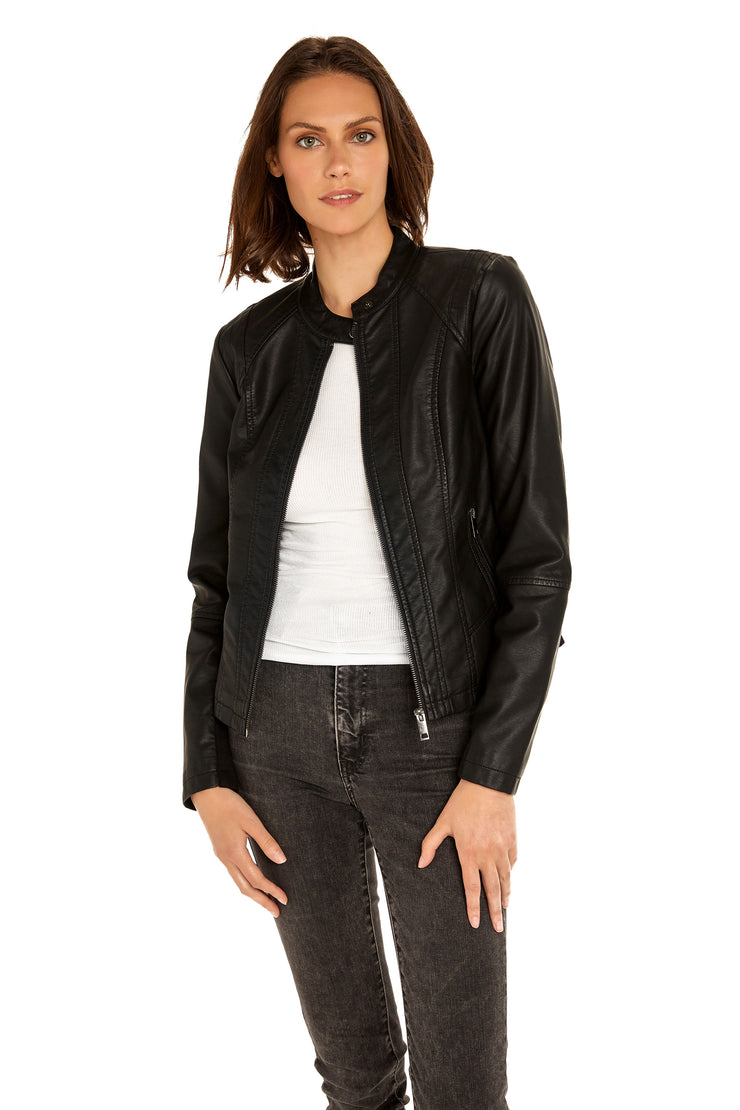 Women's Faux Leather scuba jacket black detail