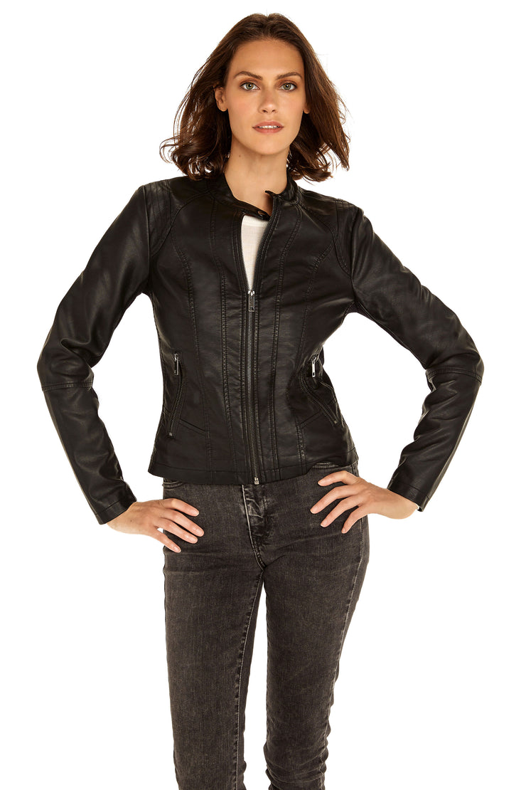 Women's Faux Leather scuba jacket black front