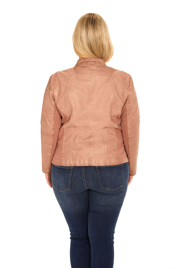 Faux Leather plus size scuba jacket blush back
