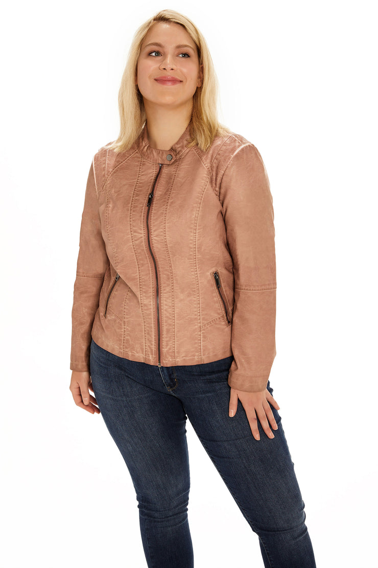 Faux Leather plus size scuba jacket blush detail