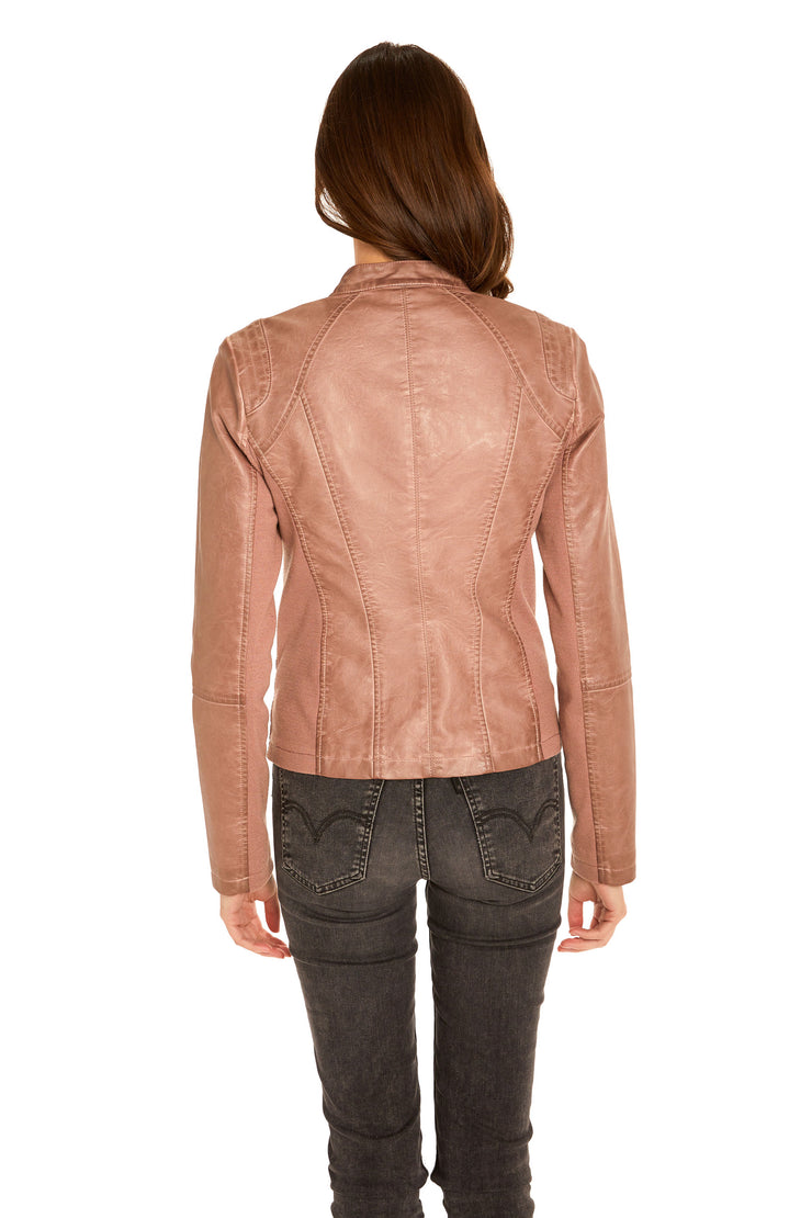 Women's Faux Leather scuba jacket blush back