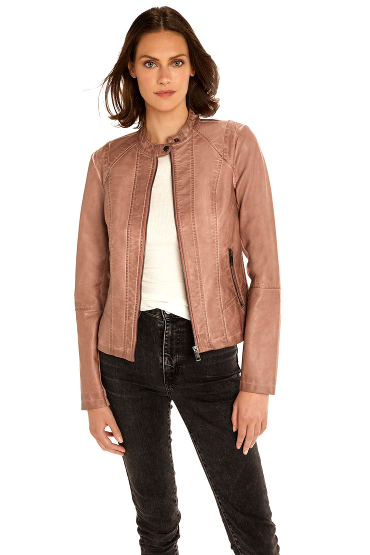 Women's Faux Leather scuba jacket blush detail