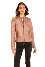 Women's Faux Leather scuba jacket blush front