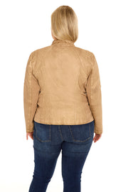 Faux Leather plus size scuba jacket light taupe back