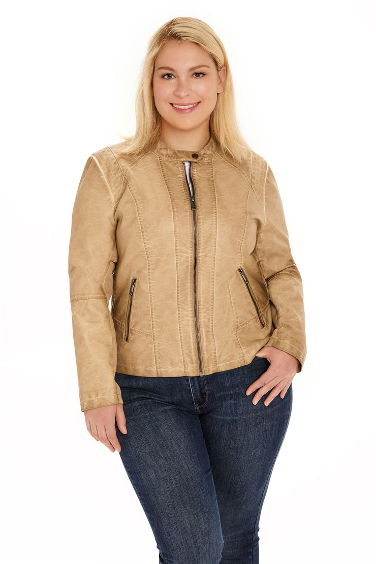 Faux Leather plus size scuba jacket light taupe detail