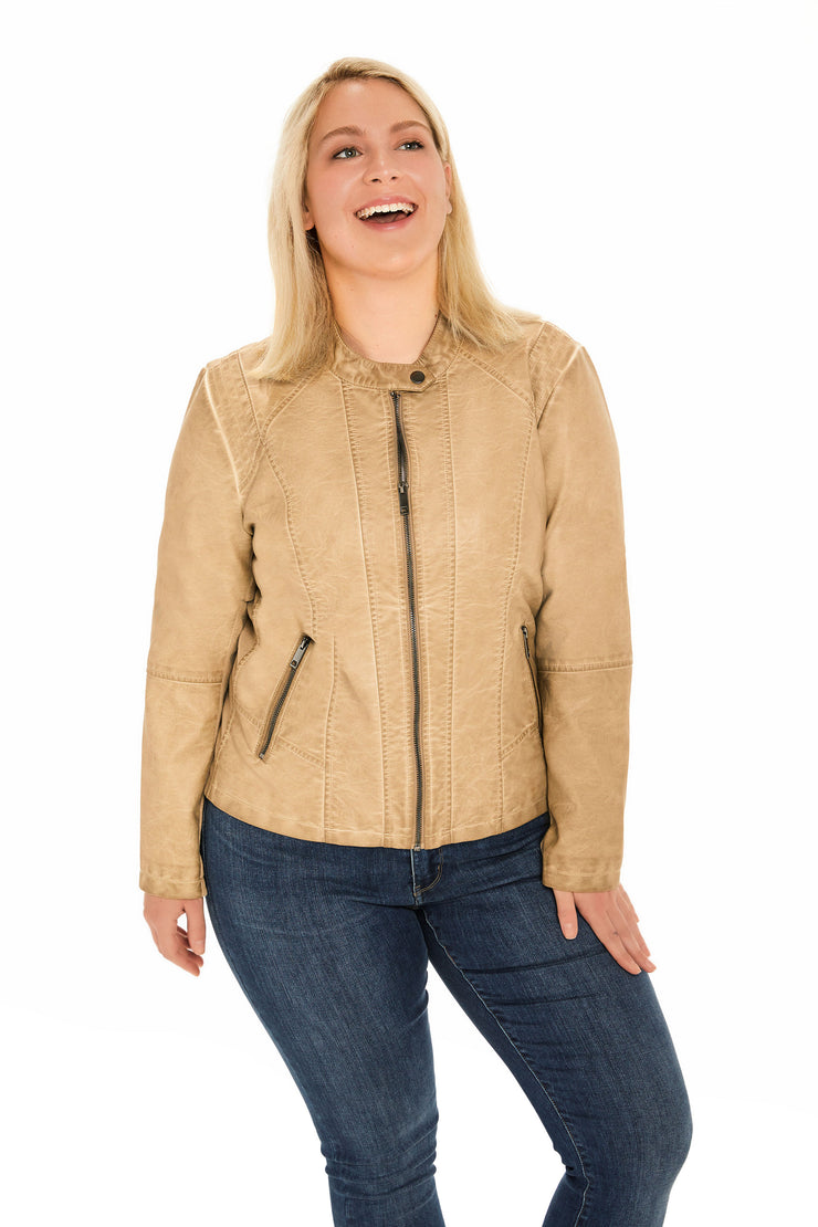 Faux Leather plus size scuba jacket light taupe front