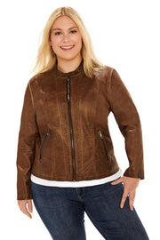 Faux Leather plus size scuba jacket whiskey front