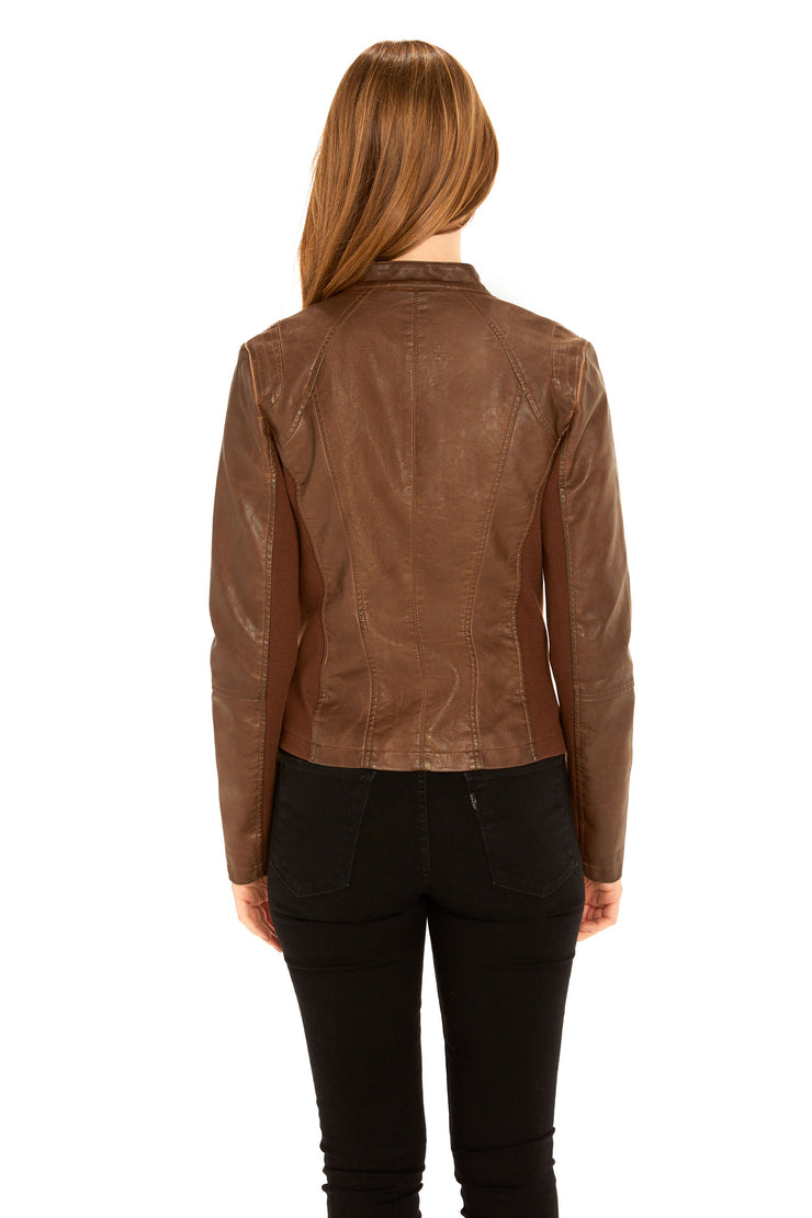 Women's Faux Leather scuba jacket whiskey back
