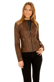 Women's Faux Leather scuba jacket whiskey detail