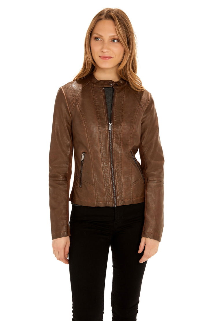 Women's Faux Leather scuba jacket whiskey front