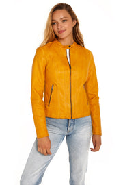 Women's Faux Leather scuba jacket yellow front