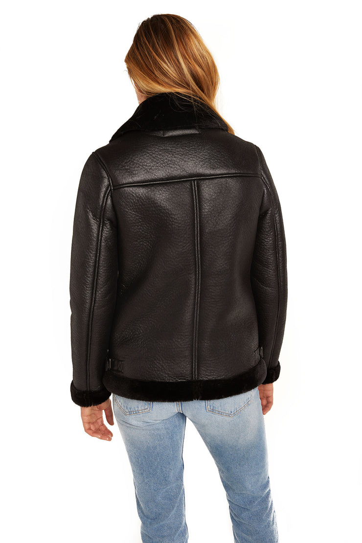 Faux shearling aviator jacket  back