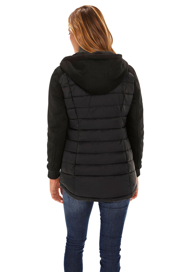 Women's Mixed Media quilted puffer jacket black back