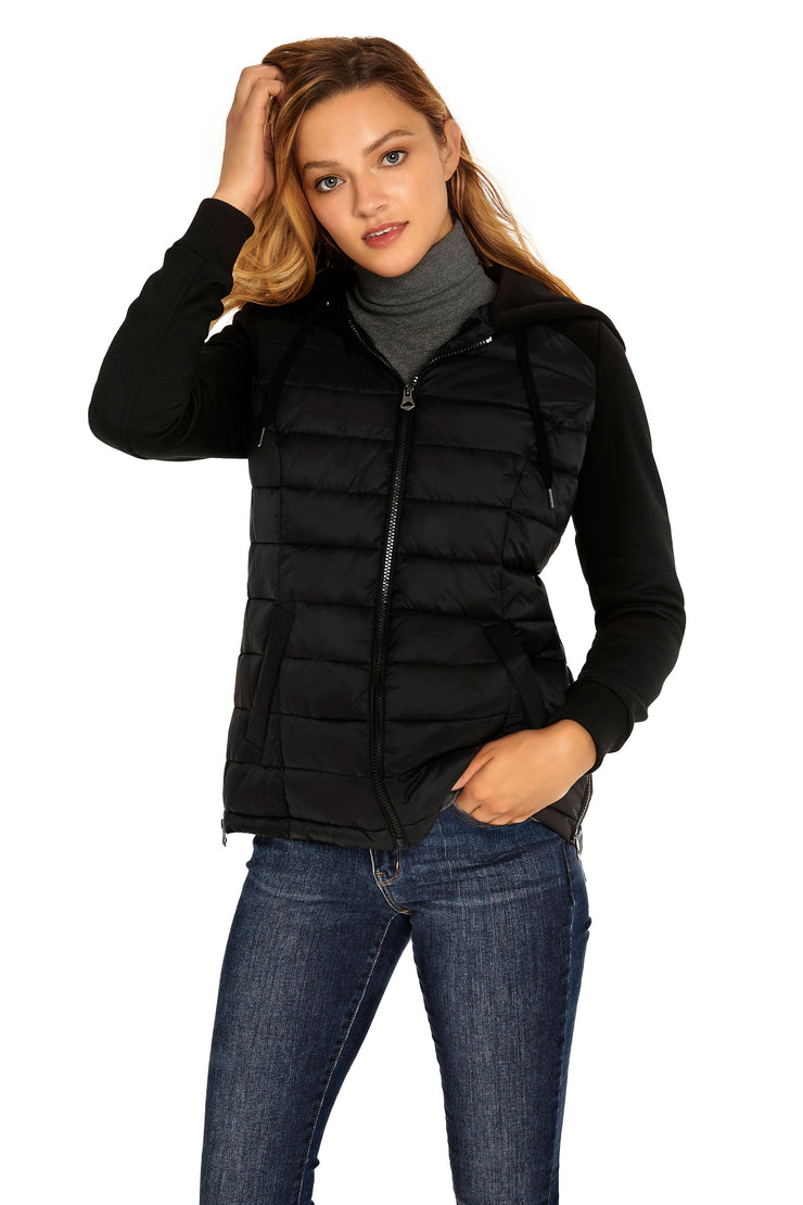 Women's Mixed Media quilted puffer jacket black detail