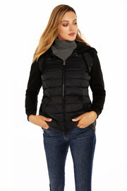 Women's Mixed Media quilted puffer jacket black front