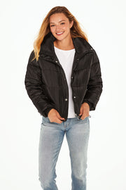 Juniors' Puffer jacket cropped black detail