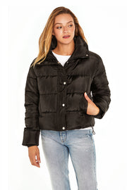 Juniors' Puffer jacket cropped black front