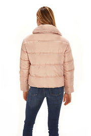 Juniors' Puffer jacket cropped blush back