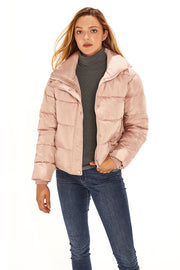 Juniors' Puffer jacket cropped blush detail