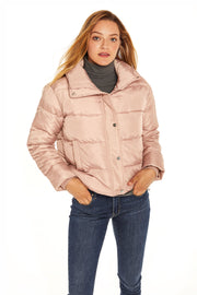 Juniors' Puffer jacket cropped blush front
