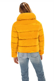 Juniors' Puffer jacket cropped mustard back