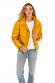 Juniors' Puffer jacket cropped mustard detail