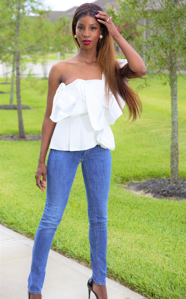 Sarah -One Shoulder All Over Ruffle Blouse - Crowned With Grace Boutique
