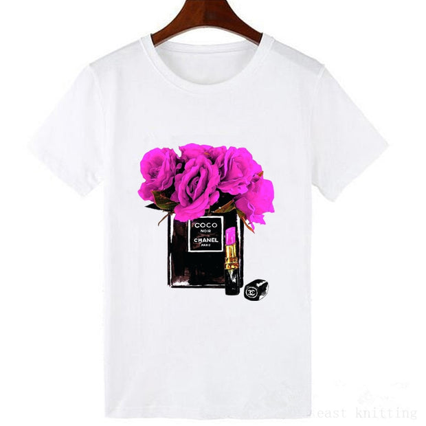 Flowery Perfume Bottle Tee - Crowned With Grace Boutique