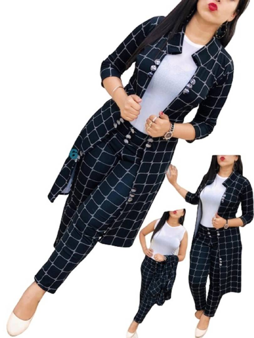 Gnacy Blended Checked Co Ordinate Two Piece Dress With Shrug Apty