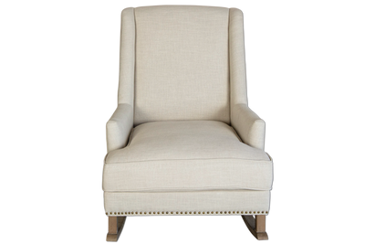 Charlotte Nursery Wingback Rocking Chair - White Upholstered Linen & Solid Timber Frame