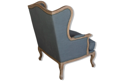 Windsor Wingback Armchair Grey Upholstered Linen & Timber Legs