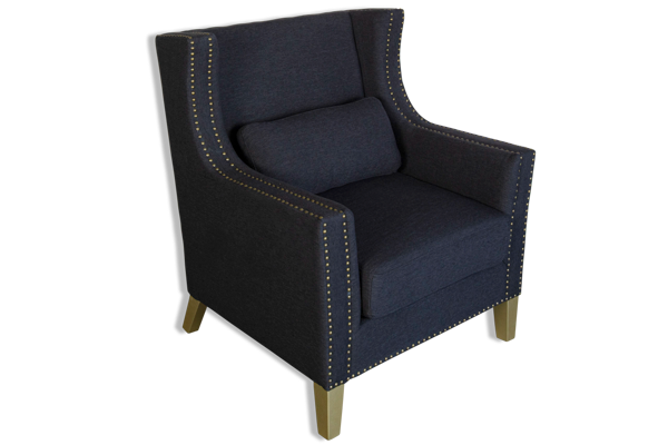 Hugo Antique Classic Armchair - Black Upholstered Fabric Studded Detailing & Solid Timber Frame