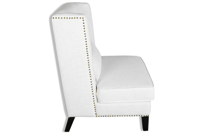 Alfred Wingback Armchair - Upholstered White Linen & Oak Wood Legs