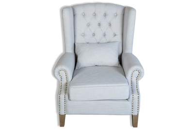 William Wingback Armchair - Pearl Upholstered Linen Fabric & Solid Timber Frame