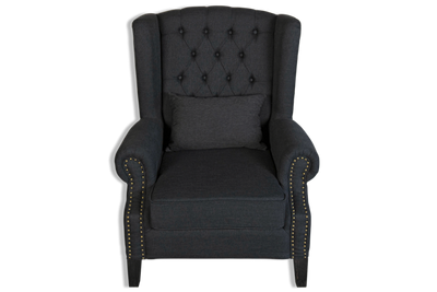 William Wingback Armchair - Black Upholstered Linen Fabric & Solid Timber Frame