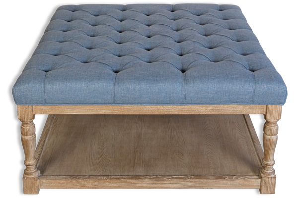Georgia French Tufted Coffee Table Ottaman - Mid Grey Upholstered Linen Fabric, Solid Timber Frame & Oak Wood Legs