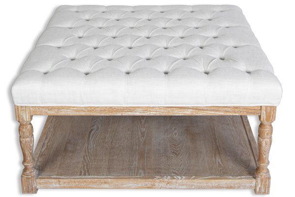 Georgia French Tufted Coffee Table Ottaman - White Upholstered Linen Fabric, Solid Timber Frame & Oak Wood Legs