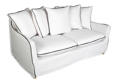 Alexander Classic European 3 Seater Sofa - White or Charcoal Upholstered Linen & Cotton Blend - Solid Timber Frame