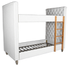 Benjamin Bunks - White Upholstered Linen Fabric, Solid Timber Frame & Oak Wood Legs