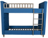 Benjamin Bunks - Blue Upholstered Linen Fabric, Solid Timber Frame & Oak Wood Legs