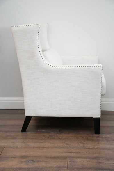 Hugo Antique Classic Armchair - White Upholstered Fabric Studded Detailing & Solid Timber Frame