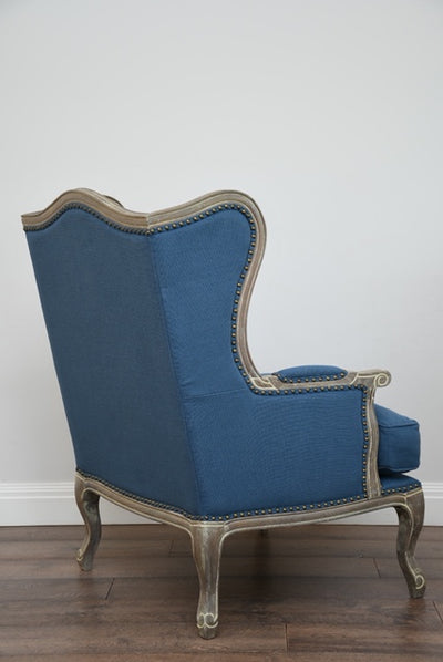 Beatrice Wingback Armchair - French Blue Upholstered Linen, Solid Timber Frame, Oak Wood Legs & Armrests