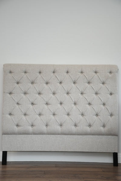 Paige Tufted Oatmeal Linen Timber Frame Queen Headboard